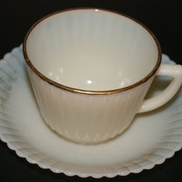 Vintage MONAX With Gold Trim Petalware Depression Glass Cup And Saucer Set By MacBETH-Evans Glass 1930 To 1950