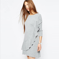 Grey Flounce Design Layered Dress