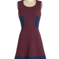 ModCloth Colorblocking Mid-length Sleeveless A-line Attentive Audience Dress