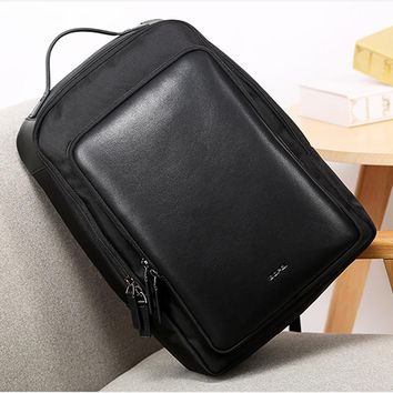 BOPAI Black Computer Backpack 15.6 Inch Big Leather Backpack for School Student Waterproof Oxford Leisure Travel Backpack Bags