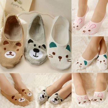 cute harajuku print cat/rabbit/bear socks women summer korean animal funny socks girl low cut ankle socks invisible slippers