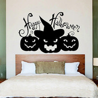 Wall Decals Halloween Pumpkins Horror Holiday Design Bedroom Home Decor DA3979