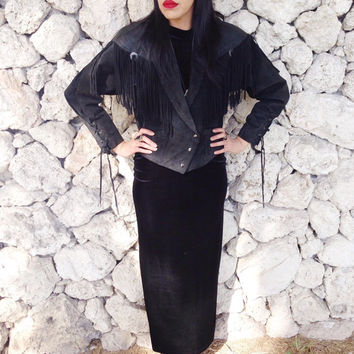Vintage 80s Black Suede Western Fringe Jacket With Concho and Snakeskin Detail M