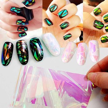 Holographic Nail Foil Transfer Foil for Nails Broken Glass Holographic Foil for Manicure Design for Nail Art Stickers ZJ1201