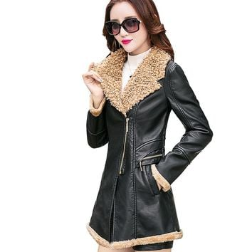 Winter Long PU Faux Leather Jacket Women Sheekskin Shearling Coat  Plus Cashmere Korean Slim Lamb Wool Jackets AS17003