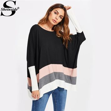 Sheinside Color Block Striped Oversized Dolman T-shirt Women Boat Neck Long Sleeve Casual Tee 2017 Stretchy Fall Shirt