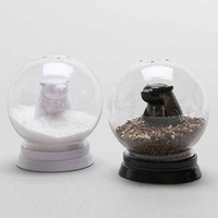 Snow Globe Bears Salt + Pepper Shaker Set- Black & White One
