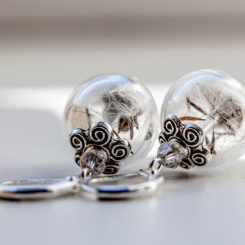 WISH Earrings real Dandelion, Jewelry Woman, french earrings  dandelion seeds Earrings, vial ball earrings, glass globe earrings