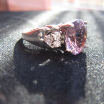 Rose de France Amethyst and CZ sterling silver ring