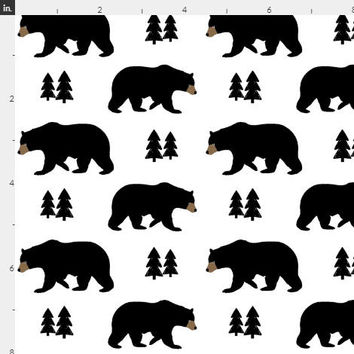 Black White Woodland Nursery Fabric by the Yard Cotton Black Bear Trees Baby Fabric Organic Cotton Minky Fabric BW 6776257