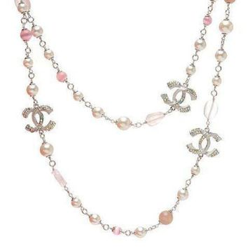DCCKNQ2 Chanel Woman Fashion Logo Pearls Necklace For Best Gift-1