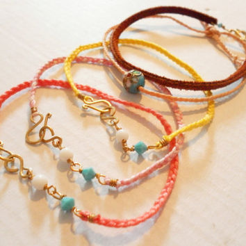 Hippie Braided Friendship Bracelets five set lot - pink coral yellow salmon floss simple brown suede flower bead crystals christams gift