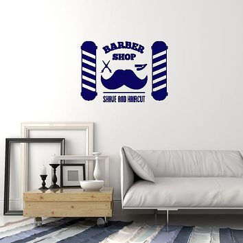 Vinyl Wall Decal Barbershop Hair Salon Shave Haircut Interior Decoration Idea Art Stickers Mural (ig5998)