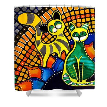 Cheer Up My Friend - Cat Art By Dora Hathazi Mendes Shower Curtain