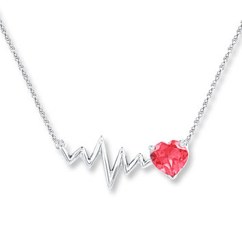 Heartbeat Necklace Lab-created Ruby Sterling Silver