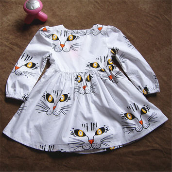 New novelty girls full sleeve Dress tiger printing pattern Cotton classic casual kids baby girl dresses meninas vestir