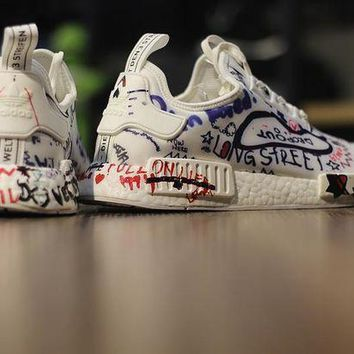CREYGE2 Beauty Ticks Vetements X Adidas Nmd Boost ???custom Graffiti??¨¤ Ba7527 Men Women Running Sneaker