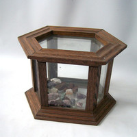 vintage terrarium wood container display case decorative home decor retro mid century brown hexagon box