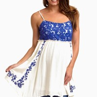 Ivory Royal Floral Lace Accent Linen Maternity Tank Top