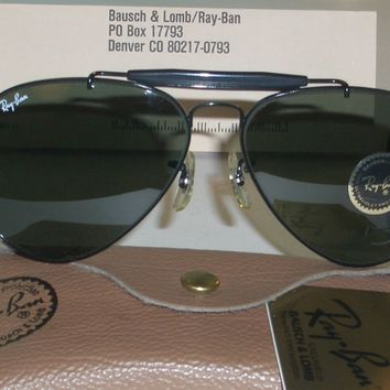 58[]14mm B&L RAY BAN G15 UV BLACK WRAP-AROUND OUTDOORSMAN AVIATOR SUNGLASSES NEW