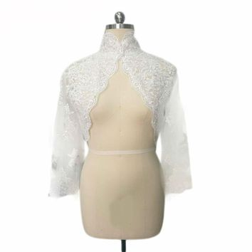 Elegant Lace Wedding Jacket Beads Bolero Long Sleeves High Neck Wedding Boleros
