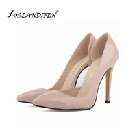 LOSLANDIFEN Two-Piece Nude Women's Pumps Women Thin High Heels Shoes Pointed Toe Sexy Pumps Party Dress Shoes Woman 302-18PA