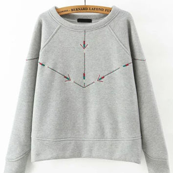 Grey Round Neck Arrow Embroidered Sweatshirt