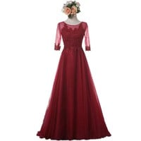 New Wine Red Bridesmaid Dress With Half Sleeve Appliques Elegant Long Pink Dresses
