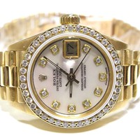 Rolex Datejust Presidential 6917 18K gold automatic .70ct bezel ladies watch