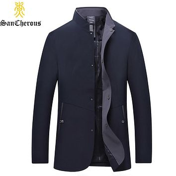 New Spring Autumn Casual Jacket High Quality Outerwear Solid Stand Collar Business Men's Coat