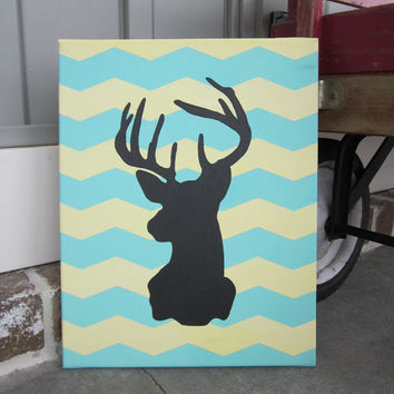 Chevron Stag Silhouette  - Wall Decor Art - You Customize! (Deer, Buck)