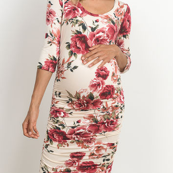 Ivory Floral Side-Ruched Maternity Dress