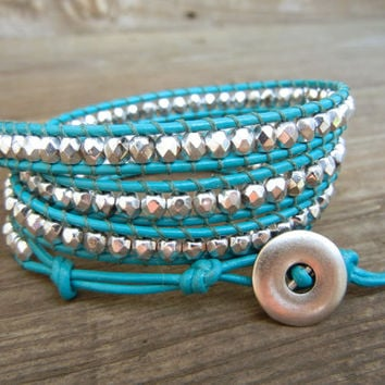 Beaded Leather Wrap Bracelet 4 Wrap with Silver Czech Glass Beads on Turquoise Leather Tiffany Blue Spring