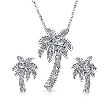 Palm Tree Necklace Pendant Earring Cubic Zirconia CZ Sterling Silver