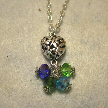 Necklace, Silver Plated Chain With Czech Beaded Dangle, Blue, Green, Handmade