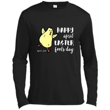 Happy April Easter Fools Day T-Shirt Funny Dancing Chick Long Sleeve Moisture Absorbing Shirt