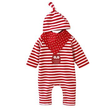 3 Pc Baby Girls Striped Jumpsuit with Owl, Includes Hat and Handkerchief Sizes 3M - 9M