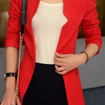 Solid Color Long Sleeve Slim Blazer