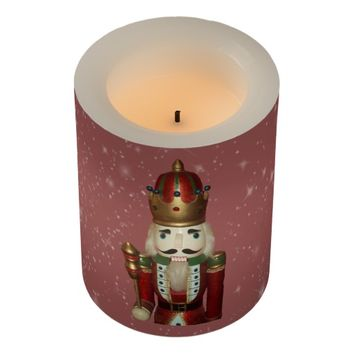 Nutcracker Wrapped LED Flameless Candle
