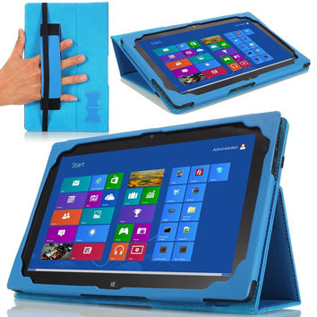 MoKo Slim Cover Case for Lenovo Thinkpad Tablet 2 10.1 inch Windows 8 Pro tablet, BLUE (with Flip Stand, Integrated Elastic Hand Strap, Stylus Loop, and Smart Cover Auto Wake/Sleep)