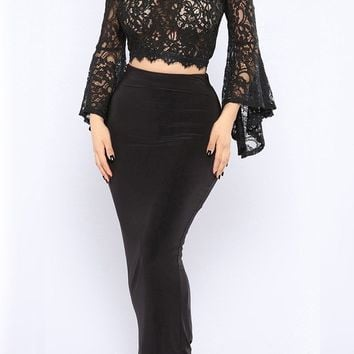 Black Lace Zipper Ruffle Petal Neck Bell Sleeve Cute Blouse