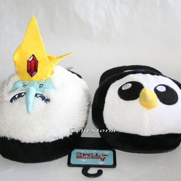 Licensed cool Adventure Time with Finn & Jake Ice King Gunter Adult plush Slippers House Shoes