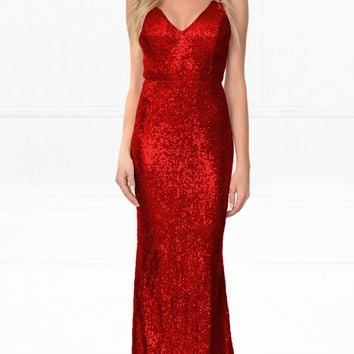 Indie XO Elegant Encounter Red Sequin Sleeveless Spaghetti Strap V Neck X Back Split Side Maxi Dress