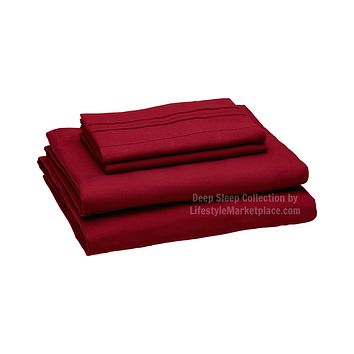 Twin XL / Dorm / Hospital Bed Sheets - Burgundy - Deep Sleep 1800 Thread Count Sheet Set - Breathable, Moisture Wicking, Ultra Soft, Wrinkle Free