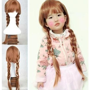 ESBON Girl's Snow Princess Anna Brown Braids Girl Party Children Froze Anna Wig Party Fancy costume