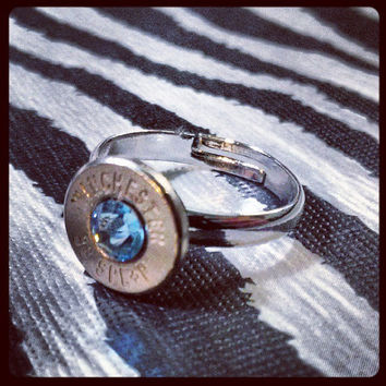 Simplistic Bullet Ring - Light Blue