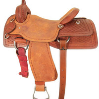 "Ozark Leather Co. Ranch Cutter Saddle 16"" Seat FQH Bars"
