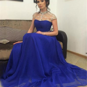 Crystals Beaded Royal Blue Long Prom Dresses High Neck Sexy Backless Evening Gowns Cheap Chiffon Party Dresses PD139