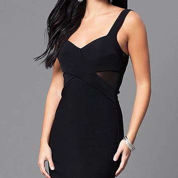 Black Knee-Length Party Dress with Sheer Sides