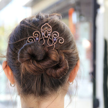 Hair fork, copper, diadem, tiara, hair comb, valentines day, hair accessories, beaded, gift for her, vintage, large, purple, pink, yellow